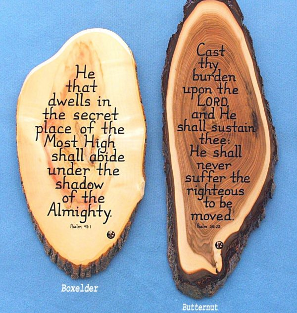 Boxelder and Butternut Wooden Scripture Plaques