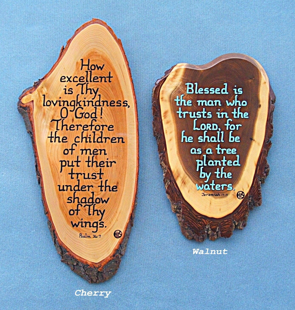 Cherry and Walnut Wooden Bible Verse Plaques