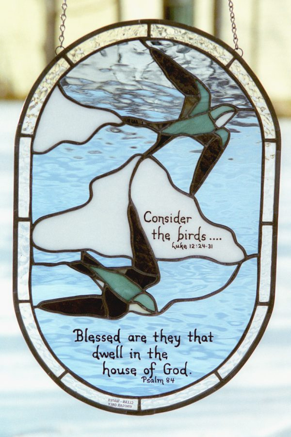 Green Swallows Stained Glass with Scripture