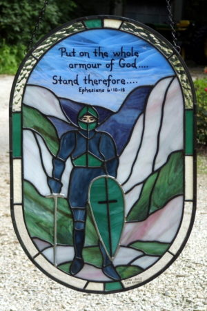 Armour Green Stained Glass with Scripture