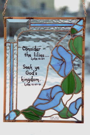 Bible verse stained glass with blue flowers