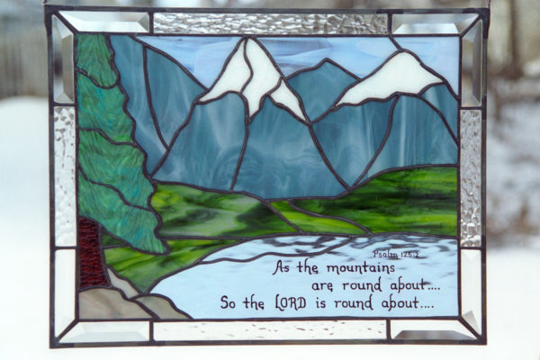 Bible Verse Stained Glass with Mountains