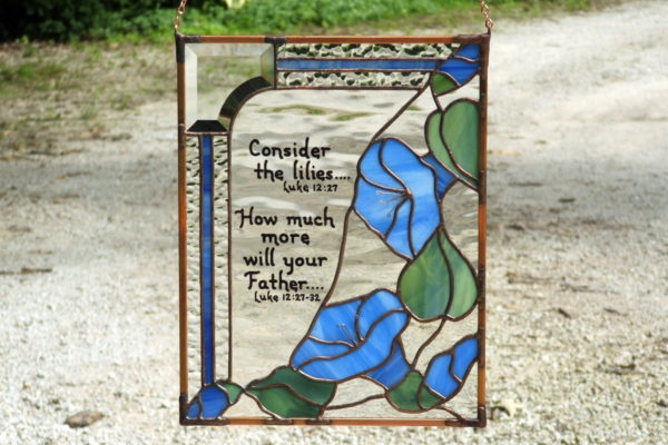 Stained glass with morning glories and bible scripture