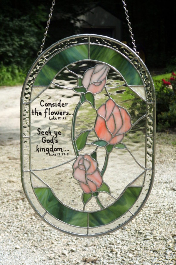Bible verse stained glass with pink rose
