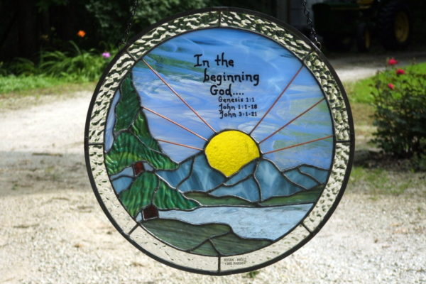 Stained Glass Sunrise with Bible Verse