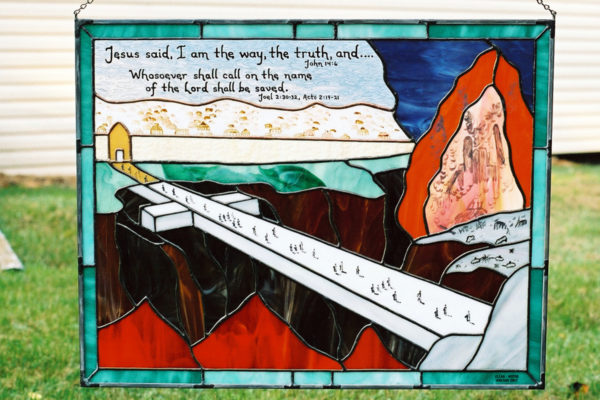 The Cross Stained Glass with bible verses